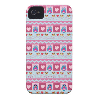 Cute romantic case with love birds, hearts & owls