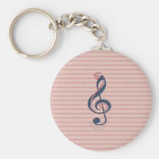 Cute romantic red white hearts blue music note keychain