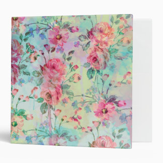Cute romantic roses floral paint watercolors 3 ring binders