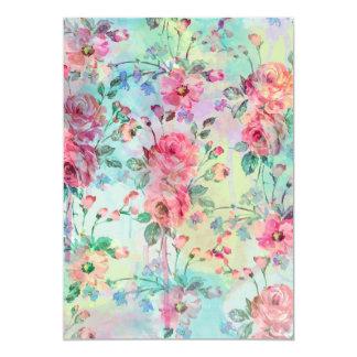Cute romantic roses floral paint watercolors card