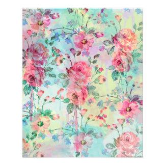 Cute romantic roses floral paint watercolors full colour flyer