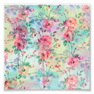 Cute romantic roses floral paint watercolors photo print