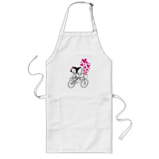 Cute romantic Valentines day couple on bike Long Apron