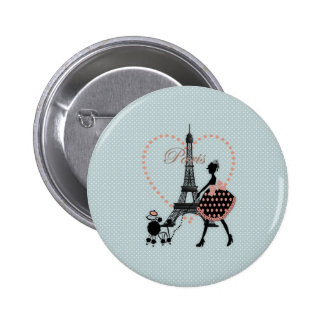 Cute romantic vintage girl silhouette walking 2 inch round button
