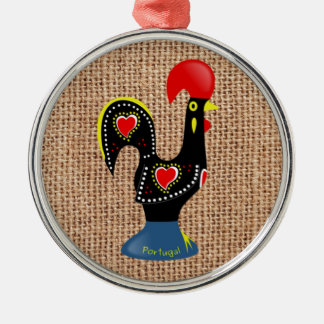 Cute Rooster Barcelos Portugal Burlap background Metal Ornament