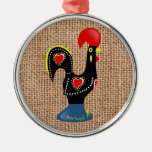 Cute Rooster Barcelos Portugal Burlap background Silver-Colored Round Ornament