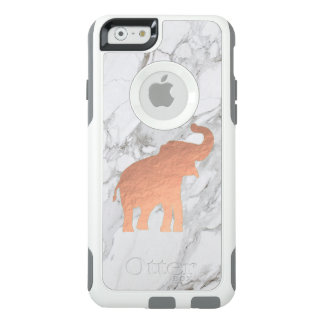 cute rose gold elephant on white marble OtterBox iPhone 6/6s case