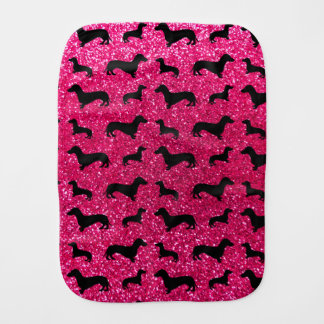 Cute rose pink dachshund glitter pattern burp cloths