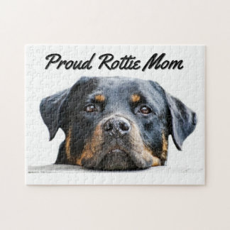 Cute Rottweiler Dog Breed | Proud Rottie Mom Jigsaw Puzzle