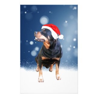 Cute Rottweiler Dog Christmas Santa Hat Snow Stars Custom Stationery