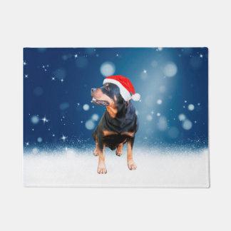 Cute Rottweiler Dog Christmas Santa Hat Snow Stars Doormat