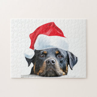 Cute Rottweiler Dog Santa Gift for Rottie Owners Jigsaw Puzzle