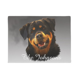Cute Rottweiler Dog Water Color Art Portrait Doormat