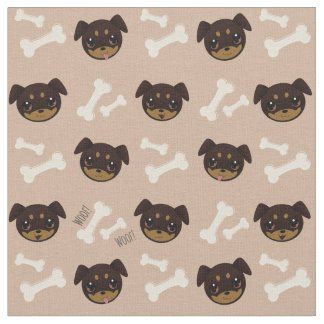 Cute Rottweiler Puppy & Bones Pattern Fabric