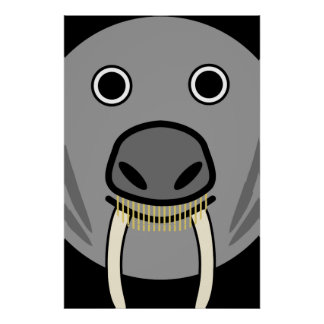 Cute Round Cartoon Walrus Face Poster