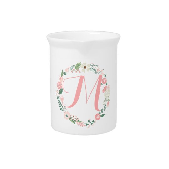 Cute Round Floral Frame Monogram Drink Pitcher