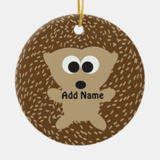 Cute Round Hedgehog Ceramic Ornament