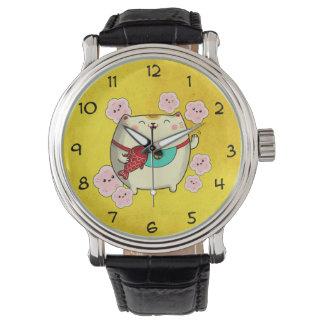 Cute Round Maneki Neko Cat Wrist Watch