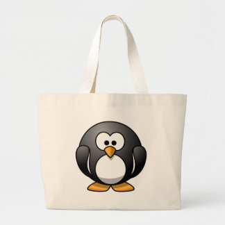 Cute Round Penguin Designs Large Tote Bag