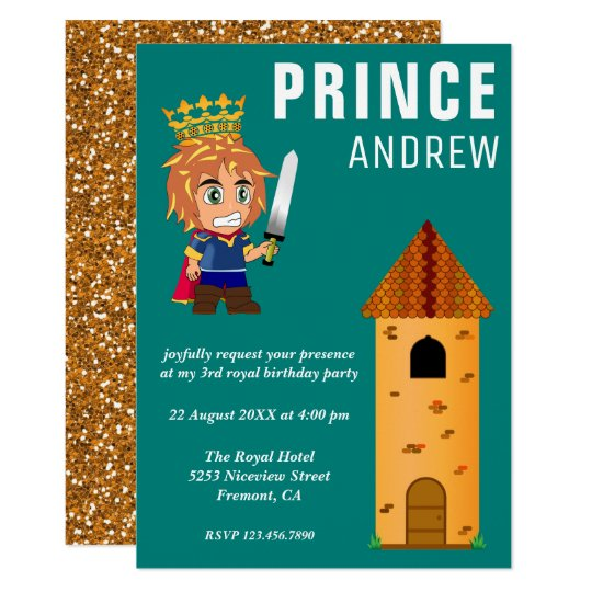 Cute Royal Baby Prince Castle Teal Birthday Party Card