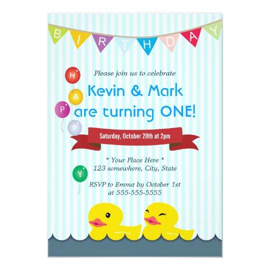 Cute Rubber Duck Twins Birthday Invitations Zazzle Ca