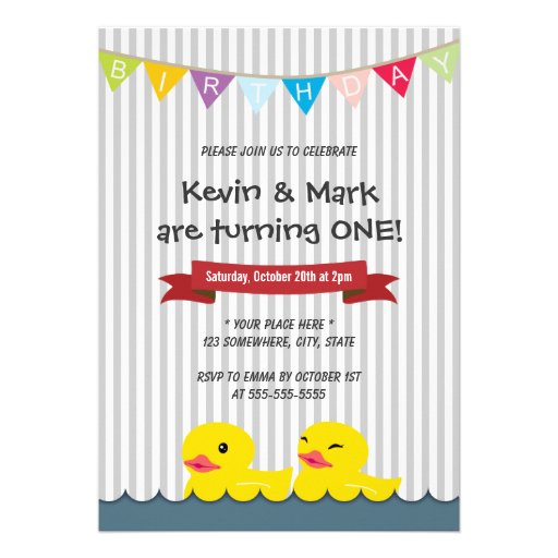 Cute Rubber Duck Twins Birthday Party Invitations