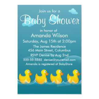 """Cute Rubber Ducky Baby Shower 5"""" X 7"""" Invitation Card"""