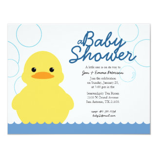 """cute rubber ducky BABY SHOWER invitation 4.25"""" X 5.5"""" Invitation Card"""