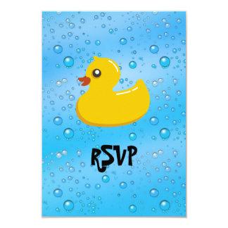 """Cute Rubber Ducky/Blue Bubbles 3.5"""" X 5"""" Invitation Card"""