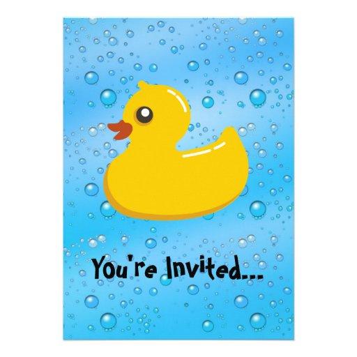 Cute Rubber Ducky/Blue Bubbles Custom Invitations