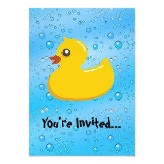 """Cute Rubber Ducky/Blue Bubbles 5"""" X 7"""" Invitation Card"""