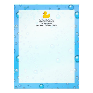 Cute Rubber Ducky/Blue Bubbles Letterhead