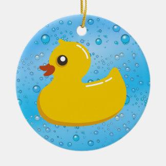 Cute Rubber Ducky/Blue Bubbles Round Ceramic Ornament