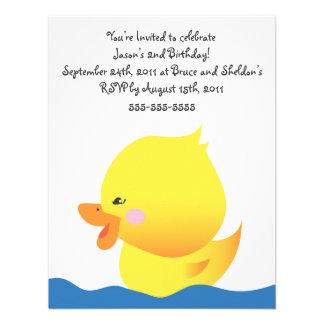 Cute Rubber Ducky Boy Birthday Invitation