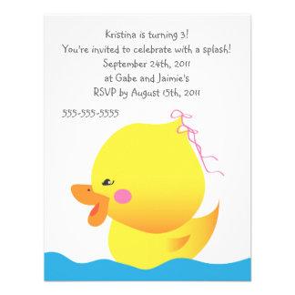 Cute Rubber Ducky Girl Birthday Invitation