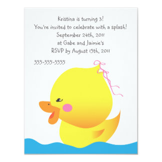 Cute Rubber Ducky Girl Birthday Invitation