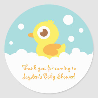Cute Rubber Ducky in Bubble Bath Classic Round Sticker