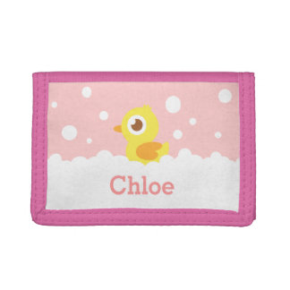 Cute Rubber Ducky in Bubble Bath for Girls Trifold Wallet