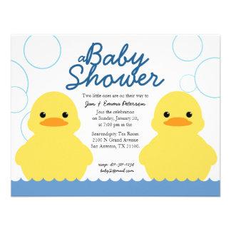 cute rubber ducky TWIN BABY SHOWER invitation