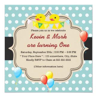 Cute Rubber Ducky Twins Polka Dots Birthday 5.25x5.25 Square Paper Invitation Card