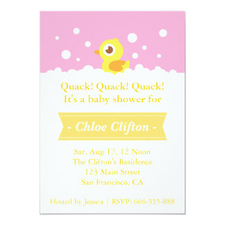 """Cute Rubber Ducky with Bubbles Baby Shower Party 5"""" X 7"""" Invitation Card"""