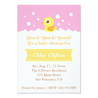 Cute Rubber Ducky with Bubbles Baby Shower Party Custom Invites