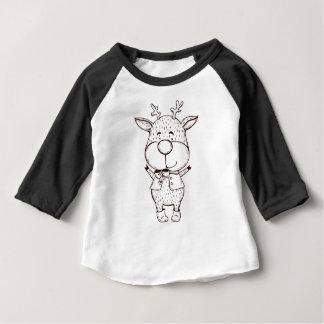 Cute Rudolf Christmas Black and White Baby T-Shirt