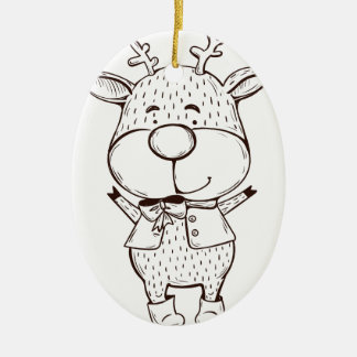 Cute Rudolf Christmas Black and White Ceramic Ornament