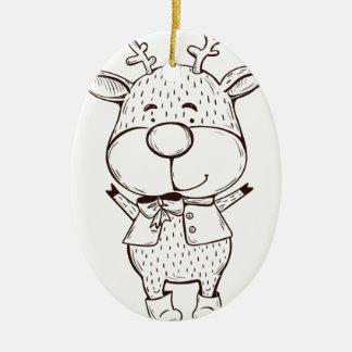 Cute Rudolf Christmas Black and White Ceramic Oval Ornament