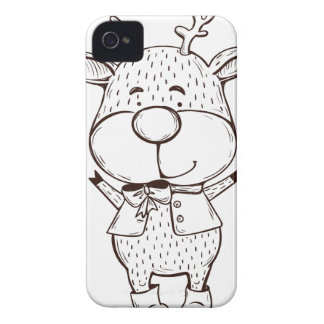 Cute Rudolf Christmas Black and White iPhone 4 Covers