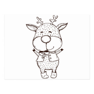 Cute Rudolf Christmas Black and White Postcard