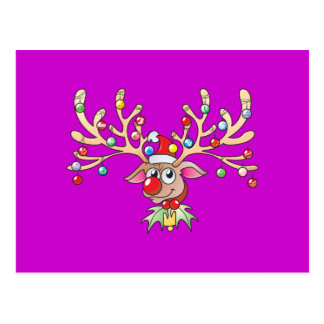 Cute Rudolf Reindeer with Christmas Lights Invites Postcard