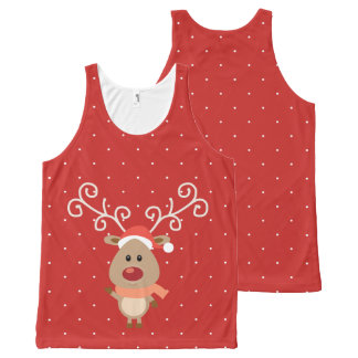 Cute Rudolph the red nosed reindeer cartoon All-Over-Print Tank Top
