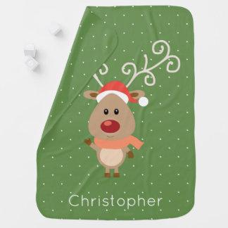 Cute Rudolph the red nosed reindeer cartoon Baby Blanket